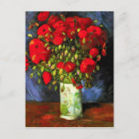 """Van Gogh Vase With Red Poppies Postcard<br><div class=""""desc"""">Van Gogh vase with Red Poppies postcard. Oil painting on canvas from 1886. Vase with Red Poppies is one of Van Gogh's most popular flower paintings. The artist devoted multiple works to the poppy, and this dynamic still life is perhaps his most vibrant. A great gift for fans of van...</div>"""