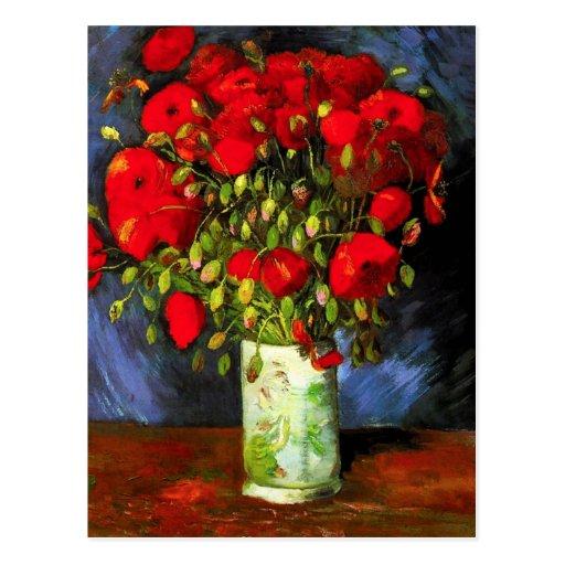 Van Gogh Vase With Red Poppies Postcard