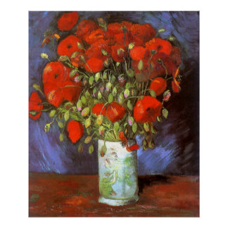 Van Gogh: Vase with Red Poppies Poster