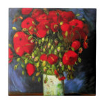 """Van Gogh Vase With Red Poppies Tile<br><div class=""""desc"""">Van Gogh vase with Red Poppies tile. Oil painting on canvas from 1886. Vase with Red Poppies is one of Van Gogh's most popular flower paintings. The artist devoted multiple works to the poppy, and this dynamic still life is perhaps his most vibrant. A great gift for fans of van...</div>"""