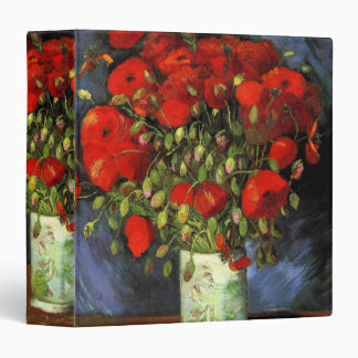 Van Gogh Vase with Red Poppies, Vintage Fine Art Binder