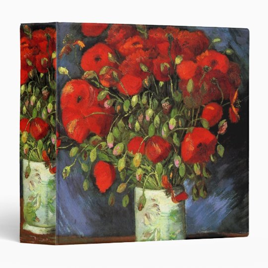Van Gogh Vase with Red Poppies, Vintage Fine Art Binder