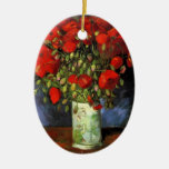 Van Gogh Vase with Red Poppies, Vintage Fine Art Double-Sided Oval Ceramic Christmas Ornament