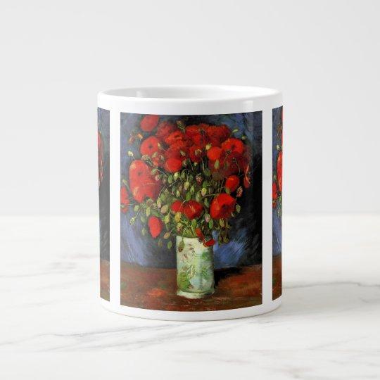 Van Gogh Vase with Red Poppies, Vintage Fine Art Giant Coffee Mug