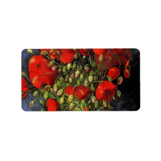 Van Gogh Vase with Red Poppies, Vintage Fine Art Label