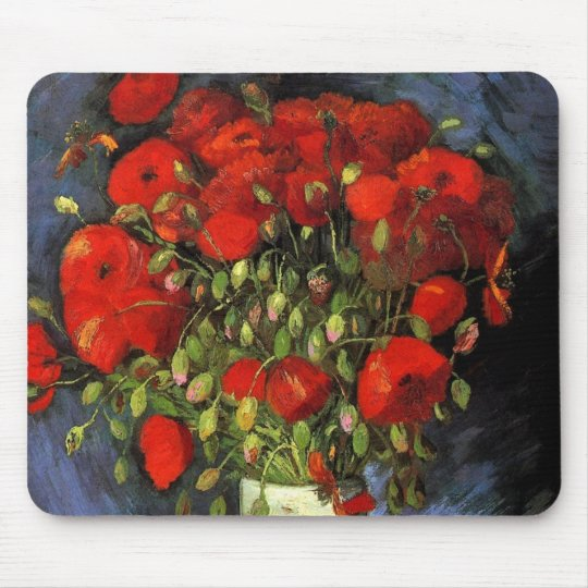 Van Gogh Vase with Red Poppies, Vintage Fine Art Mouse Pad