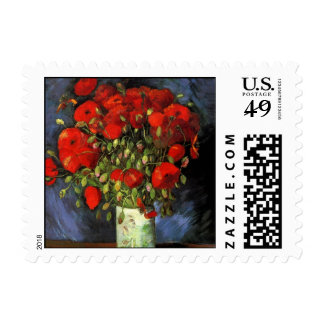 Van Gogh Vase with Red Poppies, Vintage Fine Art Postage