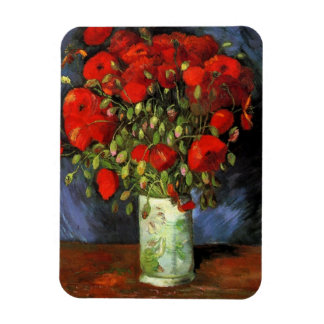 Van Gogh Vase with Red Poppies, Vintage Fine Art Rectangular Photo Magnet