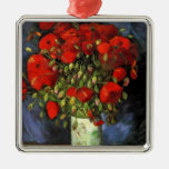 Van Gogh Vase with Red Poppies, Vintage Fine Art Square Metal Christmas Ornament