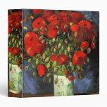 Van Gogh Vase with Red Poppies, Vintage Flower Art Binder