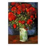 Van Gogh Vase with Red Poppies, Vintage Flower Art Cards