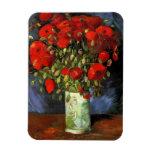 Van Gogh Vase with Red Poppies, Vintage Flower Art Magnet