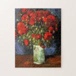 Van Gogh Vase with Red Poppies, Vintage Flower Art Puzzles