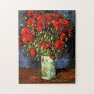 Van Gogh Vase with Red Poppies, Vintage Flower Art Jigsaw Puzzles