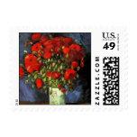 Van Gogh Vase with Red Poppies, Vintage Flower Art Stamps