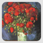 Van Gogh Vase with Red Poppies, Vintage Flower Art Square Stickers