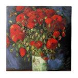 Van Gogh; Vase with Red Poppies, Vintage Flowers Ceramic Tile