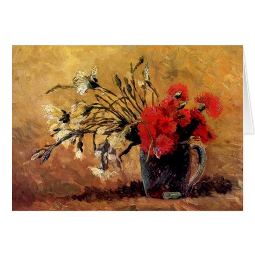 Van Gogh - Vase With Red & White Carnations Card