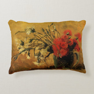 Van Gogh Vase with Red White Carnations on Yellow Accent Pillow