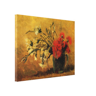Van Gogh Vase with Red White Carnations on Yellow Gallery Wrapped Canvas