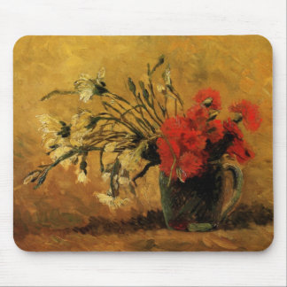Van Gogh Vase with Red White Carnations on Yellow Mouse Pad