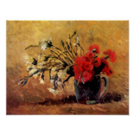 Van Gogh Vase With Red & White Carnations Poster