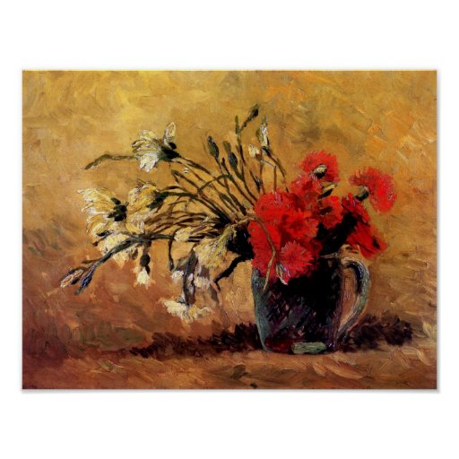 Van Gogh - Vase With Red & White Carnations Poster