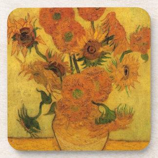 Van Gogh Vase with Sunflowers, Fine Art Flowers Drink Coaster