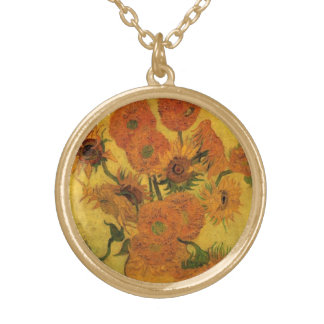 Van Gogh Vase with Sunflowers, Fine Art Flowers Gold Plated Necklace