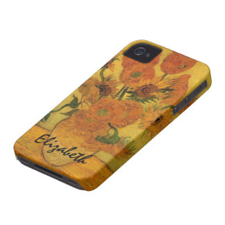 Van Gogh Vase with Sunflowers, Fine Art Flowers iPhone 4 Cover