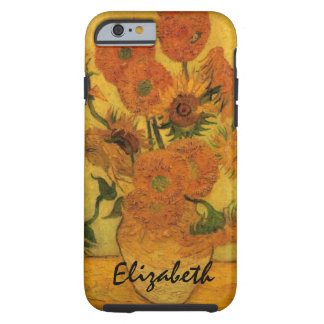 Van Gogh Vase with Sunflowers, Fine Art Flowers Tough iPhone 6 Case