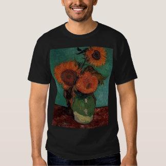 van gogh vase with three sunflowers t shirt