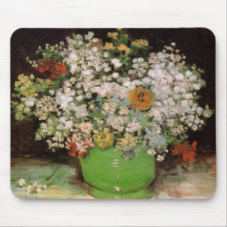 Van Gogh Vase with Zinnias and Flowers, Fine Art Mouse Pad