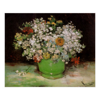Van Gogh Vase with Zinnias and Flowers, Fine Art Poster