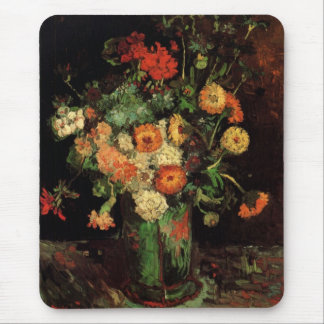 Van Gogh Vase with Zinnias and Geraniums Fine Art Mouse Pad