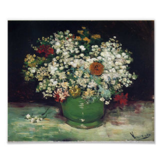 Van Gogh - Vase with Zinnias and Other Flowers Poster