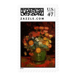 Van Gogh Vase with Zinnias Vintage Floral Fine Art Postage