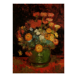 Van Gogh Vase with Zinnias Vintage Floral Fine Art Poster