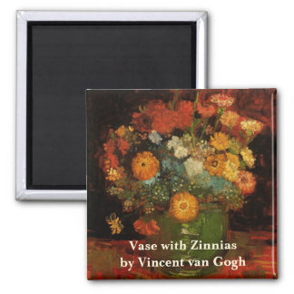 Van Gogh Vase with Zinnias, Vintage Floral Flowers Magnet
