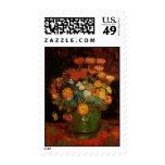 Van Gogh Vase with Zinnias, Vintage Floral Flowers Postage Stamp