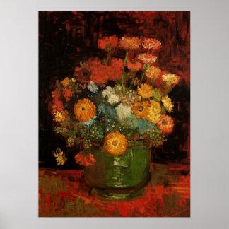 Van Gogh Vase with Zinnias, Vintage Floral Flowers Posters