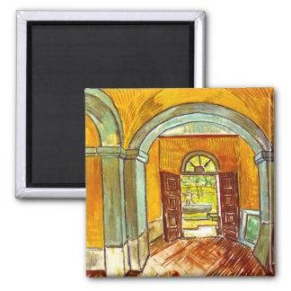 Van Gogh - Vestibule Of The Asylum 2 Inch Square Magnet