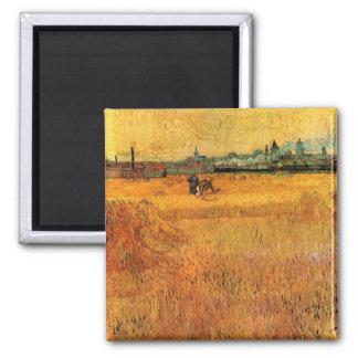 Van Gogh View from Wheat Fields in Arles, Fine Art Magnet