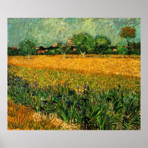 Van Gogh View of Arles w Irises, Vintage Fine Art Poster