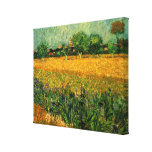 Van Gogh View of Arles w Irises, Vintage Landscape Stretched Canvas Print