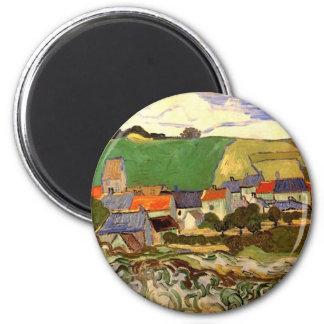 Van Gogh View of Auvers, Vintage Cottage Cityscape Magnet
