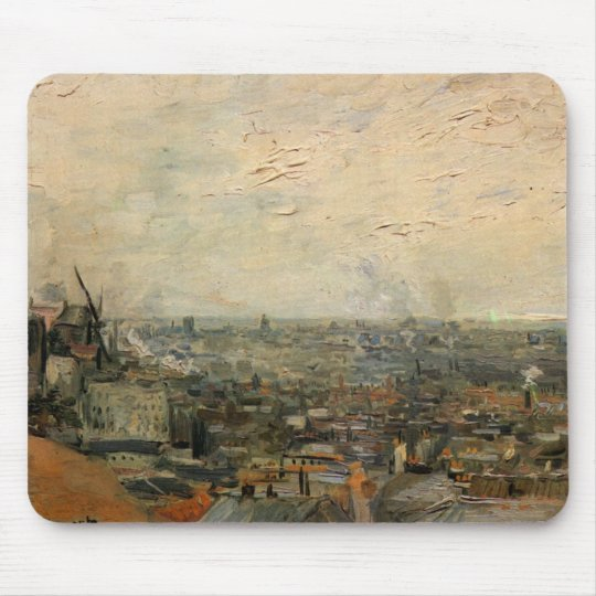 Van Gogh View of Paris from Montmarte, Fine Art Mouse Pad
