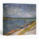 Van Gogh View of River w Rowing Boats, Vintage Art 3 Ring Binder