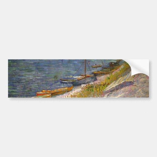 Van Gogh View of River w Rowing Boats, Vintage Art Bumper Sticker