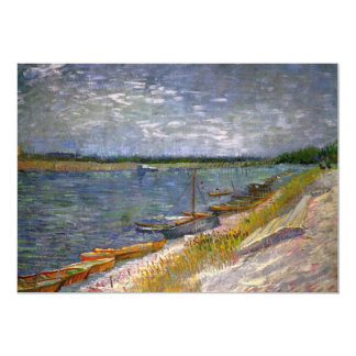 """Van Gogh View of River w Rowing Boats, Vintage Art 5"""" X 7"""" Invitation Card"""